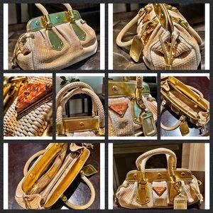 Prada Vintage Women's Handbag. Brown, Gold.
